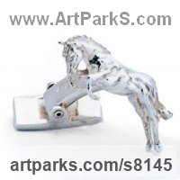 Precious Metals Animal Sculpture Statues statuettes ornaments by sculptor artist James Veale titled: 'One Horse Race Cufflinks (Galloping Sterling Solid Silver Gift Present)' in Sterling silver