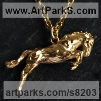 Precious Metals Animal Sculpture Statues statuettes ornaments by sculptor artist James Veale titled: 'One Horse Race Necklace - Vermeil' in Sterling silver