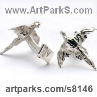 Precious Metals Animal Sculpture Statues statuettes ornaments by sculptor artist James Veale titled: 'Plucky Pheasant Cufflinks (Silver Flying Gifts Presents Presentations)' in Sterling silver