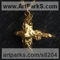 Precious Metals Animal Sculpture Statues statuettes ornaments by sculptor artist James Veale titled: 'Plucky Pheasant Necklace-Vermeil* (Flying Pheasand Gold Jewellery Gift)' in Sterling silver