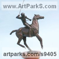 Polo Pony and Pony sculpture / statue / statuette / figurine / ornament Portraits Commissions Memorials by sculptor artist Jan Sweeney titled: 'Offside Forehand' in Bronze