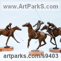 Polo Pony and Pony sculpture / statue / statuette / figurine / ornament Portraits Commissions Memorials by sculptor artist Jan Sweeney titled: 'Polo Group (Players and Ponies Small Bronze sculptures)' in Bronze