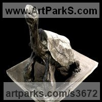 Reptiles Sculpture and Amphibian Sculpture by sculptor artist Jean Baptiste Vendamme titled: 'Tortoise (bronze life size stretching Tortoise Standing)' in Bronze