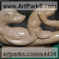 Adult with Young Animal Bird, Reptile or Amphibian, Fish Statues by sculptor artist Jeff Birchill titled: 'Babys First Swim - (American marble Otters sculpture)' in Tennessee marble
