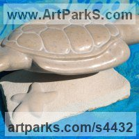 Animal Form: Abstract Sculpture by sculptor artist Jeff Birchill titled: 'The Glide - Sea Turtle' in Tennesse marble and limestone