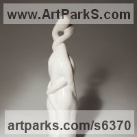 Modern Abstract Contemporary Avant Garde Sculpture or Statues or statuettes or statuary by sculptor artist Jianyong Guo titled: 'Love (ceramic Entwined Young Romantic Lovers Semi abstract statuette)' in Porcelain