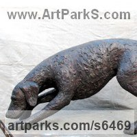 Commemoratives and Memorials Sculpture by sculptor artist Jill Tweed titled: 'Hound (bronze Fox Hound or Pet Dog sculpture/statue/commission)' in Bronze