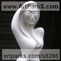 Nudes, Female Sculpture by sculptor artist Jo Ansell titled: 'Anora (Serene 7 Calm Modern abstract Carved female Torso statue)' in Hand crafted marble / mineral stone