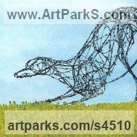 Field Sports, Game Birds and Game Animals Sculpture by sculptor artist Jo Burchell titled: 'Lazy Stretch (Metal Wire Lurcher Hound life size statues/sculptures)' in Galvanized barbed wire with steel frame