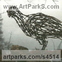 Wild Bird Sculpture by sculptor artist Jo Burchell titled: 'Watching Hawk 2 (fabricated Wire Raptor Bird of Prey statue statuette)' in Barbed wire, copper and galvanized wire