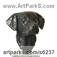 Young Animal Bird, Reptile or Amphibian and possibly Insects Statues by sculptor artist JOEL Walker titled: 'Devotion (bronze Working Labrador Puppy Bust/Head statue)' in Bronze