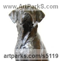 Pet and Animal Portrait Custom or Bespoke or Commission Commemorative or Memoriaql sculpture statue by sculptor artist JOEL Walker titled: 'Great Loyalty (bronze Labrador Dog sculptures)' in Bronze
