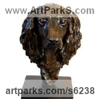 Pet and Animal Portrait Custom or Bespoke or Commission Commemorative or Memoriaql sculpture statue by sculptor artist JOEL Walker titled: 'Lovely Friend (bronze Cocker Spaniel Bust/Head statues/sculptures)' in Bronze
