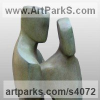 Wedding Anniversary Gift or Present Sculpture Statues statuettes by sculptor artist John Brown titled: 'Constancy (abstract Fgurative CoupleFaithful statue)' in Bronze resin