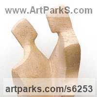 Modern Abstract Contemporary Avant Garde Sculpture or Statues or statuettes or statuary by sculptor artist John Brown titled: 'Paso Doble (Carved stone abstract Contemporary Couple Dancing sculpture)' in Ancaster stone