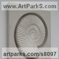 Shells Sculpture including Land and Sea and Freshwater Shells Fossil Shells by sculptor artist John Douglas Joyce titled: 'Ammonite sculpture (Wall Mounted in titanium white stucco)' in Stucco & wood mount