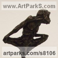 Primate / Apes Sculpture by sculptor artist John Douglas Joyce titled: 'Monkey sculpture solid antique Bronze mounted on polished granite base' in Solid bronze