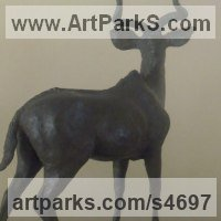 Deer Sculpture by sculptor artist John Ellison titled: 'Standing Male Kudu (Small bronze Indoor Bull statuette/statue/figurine)' in Bronze