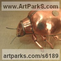 Insect Sculpture, to include Bees, Ants, Moths Butterflies etc by sculptor artist John Parker titled: 'Copper Ladybird' in Copper