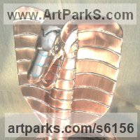 Reptiles Sculpture and Amphibian Sculpture by sculptor artist John Parker titled: 'Copper Cobra' in Copper/sterling silver
