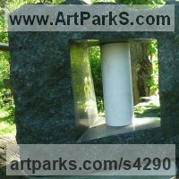 Land Art Sculpture by sculptor artist Jon Barlow Hudson titled: 'Tsung Tube XXVI: Organic Solidarity I (Carved stone and Steel abstract)' in Ontario granite and carrara marble