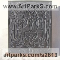 Bas Reliefs or Low Reliefs by sculptor artist Jon Evans titled: 'Inspiration (Idyllic Woodland and Animal Bas Relief Slate Carving)' in Hand carved aberllefenni slate (welsh slate)