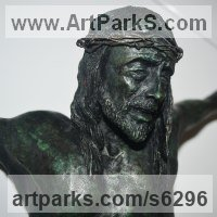 Eclesiastical Christian Sculpture, Carvings Bas Reliefs and Statues by sculptor artist Jose Miguel Franco de Sousa titled: 'Christ crucified (Small Crucficition Figure of Jesus Christ statues)' in Bronze