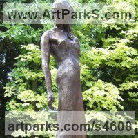 Celebrity and Star Sculpture by sculptor artist Judy Ann Cropper titled: 'Catwalk (Bronze resin Model Girl garden/Yard sculpture/statuary/statue)' in Bronze resin and marble resin