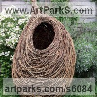 Willow, Bark and mosssculpture / statue / statuette by sculptor artist Julia Clarke titled: 'untitled 1 (Big Outdoor garden Woven Willow Nest Custom Yard sculpture)' in Woven willow