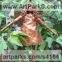 Fairies Imps Trolls Gnomes Pixies Elves Goblins Hobgoblins Leprechauns Gremlins Elfs statuettess figurines Sculpture Statues by sculptor artist Karen Williams titled: 'Elnan (Small Standing Faerie/Fairy Bronze effect Outdoor garden statue)' in Recycled material & wire