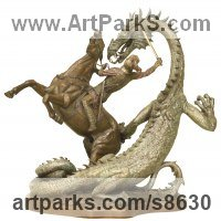 Dragons sculpture by sculptor artist Kathleen Friedenberg titled: 'Legend (Small St George Dragon Horse statue)' in Bronze