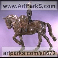 Military, Soldiers, Sailors, Marines Airmen and Military Equipment by sculptor artist Kathleen Friedenberg titled: 'Drum Horse (Fully Mounted and Accoutered statuette)' in Bronze