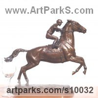 Arab and Warm Blood Horse sculpture Statues stauettes Busts and Heads by sculptor artist Kathleen Friedenberg titled: 'Flying Start Small (Bronze Racehorse statues)' in Bronze