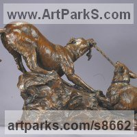 Animals and Birds at Play Sculpture Statues by sculptor artist Kathleen Friedenberg titled: 'Mine (Little Dogs Playing Frisking statuette)' in Bronze