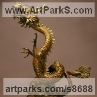 Dragons sculpture by sculptor artist Kathleen Friedenberg titled: 'Lucky Dragon (Writhing Oriental Chinese statue)' in Bronze