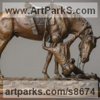 Military, Soldiers, Sailors, Marines Airmen and Military Equipment by sculptor artist Kathleen Friedenberg titled: 'The Bond (Love between Horse and Rider statue)' in Bronze
