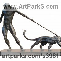 Cats Wild and Big Cats Sculpture by sculptor artist Keith Calder titled: 'Denial (Small Stylised nude Man and Big Cat statue/statuettes/Bronze)' in Bronze