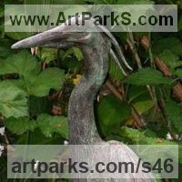 'Heron (bronze small or Little Heron Pond/Waterside sculptures/statues)' by Kenneth Potts