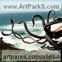 Monsters Sculpture by sculptor artist Kirk McGuire titled: 'Giant (bronze Life Like Giant Sea Squid sculpture/statue/statuette)' in Bronze