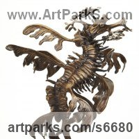 Young Animal Bird, Reptile or Amphibian and possibly Insects Statues by sculptor artist Kirk McGuire titled: 'Leafy (bronze Sea Creature/Dragon Tabletop statue/statuettes/figurine)' in Bronze