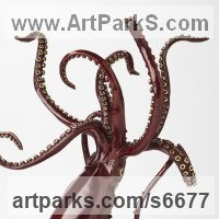 Prehistoric Monsters Sculpture and Mthical Monsters like Dragons and Hypogriphs by sculptor artist Kirk McGuire titled: 'Legend I (bronze Realistic Giant Squid statue statuette sculpture)' in Bronze
