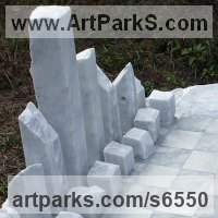 Buildings, Structures and Parts Statues or Sculpture by sculptor artist Krystyna Sargent titled: 'Chess as Art - New York (abstract marble statue)' in Carrara marble