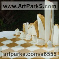 Buildings, Structures and Parts Statues or Sculpture by sculptor artist Krystyna Sargent titled: 'Chess as Art - Stone Henge (Carved marble statue)' in White cararra marble