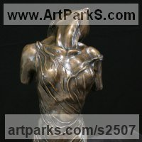 Classical Style Sculpture and Statues by sculptor artist Kurtis Bell titled: 'Isabell my Love (Bronze Stylised Girl Lover`s Torso sculpture statue)' in Bronze