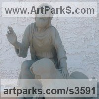 Christian Eclesiastical Sculpture, Carvings Bas Reliefs and Statues by sculptor artist Kurtis Bell titled: 'The Compassion (�Warm Cast bronze Christ and Prostitute statuette statue)' in Warm cast bronze