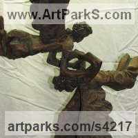 Angel Sculpture by sculptor artist L�szl� Juhos titled: 'Angels (Flying Playing Angels bronze small sculptures)' in Bronze