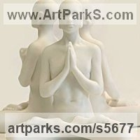 Buddha Sculpture Statues figurines statuettes by sculptor artist Laura Lian titled: 'Buddha Set small (Contemplation/Meditation White marble 3 statuettes)' in White marble resin