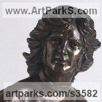 Pop Art Sculpture by sculptor artist Laura Lian titled: 'George Best (bronze Head/Face/Bust Footballer Portrait sculpture/statue)' in Bronze