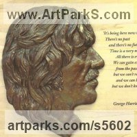 Pop Art Sculpture by sculptor artist Laura Lian titled: 'George Harrison (Portrait Profile/Face/Bust sculpture/statues and quo)' in Resin bronze on poplar wood