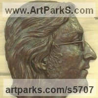 Pop Art Sculpture by sculptor artist Laura Lian titled: 'John Lennon (Bas/Low Relief Portrait Head/Face sculptures/statue)' in Bronze resin